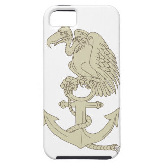 Buzzard Perching Navy Anchor Cartoon Case For The iPhone 5