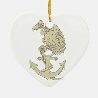 Buzzard Perching Navy Anchor Cartoon Ceramic Ornament