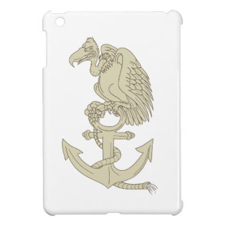 Buzzard Perching Navy Anchor Cartoon iPad Mini Cover