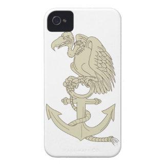Buzzard Perching Navy Anchor Cartoon iPhone 4 Case-Mate Case