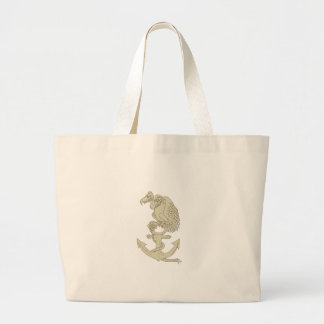 Buzzard Perching Navy Anchor Cartoon Large Tote Bag