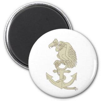 Buzzard Perching Navy Anchor Cartoon Magnet