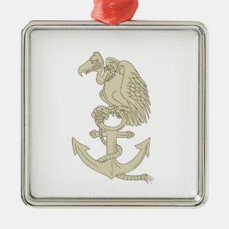 Buzzard Perching Navy Anchor Cartoon Metal Ornament