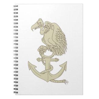 Buzzard Perching Navy Anchor Cartoon Notebook