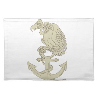 Buzzard Perching Navy Anchor Cartoon Placemat