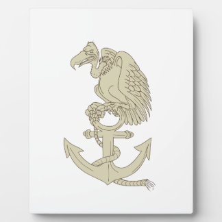 Buzzard Perching Navy Anchor Cartoon Plaque