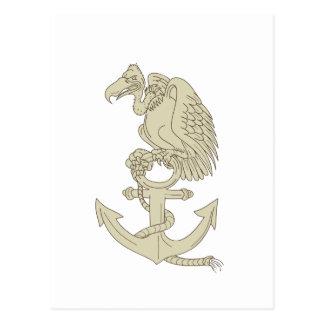 Buzzard Perching Navy Anchor Cartoon Postcard