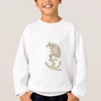 Buzzard Perching Navy Anchor Cartoon Sweatshirt