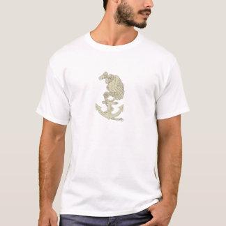 Buzzard Perching Navy Anchor Cartoon T-Shirt