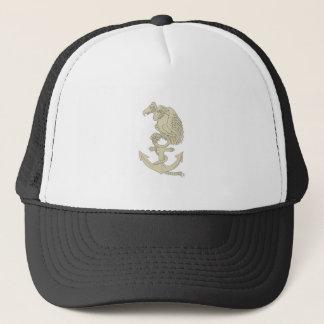 Buzzard Perching Navy Anchor Cartoon Trucker Hat