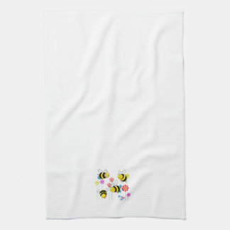 Buzzed Bees in Garden Flowers Tea Towel