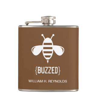 {BUZZED} Bridal Party Buzzed Bee Gift (chocolate) Hip Flasks