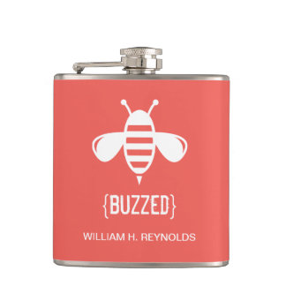 {BUZZED} Bridal Party Buzzed Bee Gift (coral) Hip Flasks