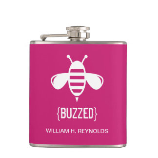 {BUZZED} Bridal Party Buzzed Bee Gift (fuchsia) Flasks
