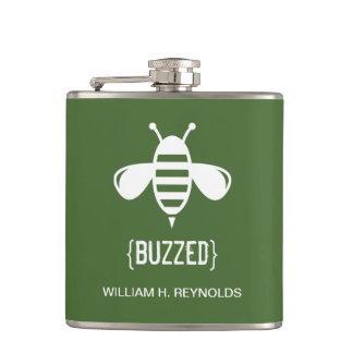 {BUZZED} Bridal Party Buzzed Bee Gift (green) Flask