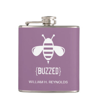 {BUZZED} Bridal Party Buzzed Bee Gift (purple) Hip Flask