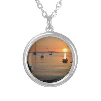 Buzzer Sunset in Novalja in Croatia Silver Plated Necklace
