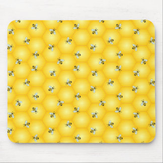 Buzzing Bumble Bees and Golden Honeycomb Pattern Mouse Pad