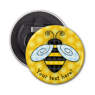 Buzzing Bumblebee and Honeycomb Icon Bottle Opener