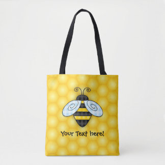 Buzzing Bumblebee and Honeycomb Icon Tote Bag