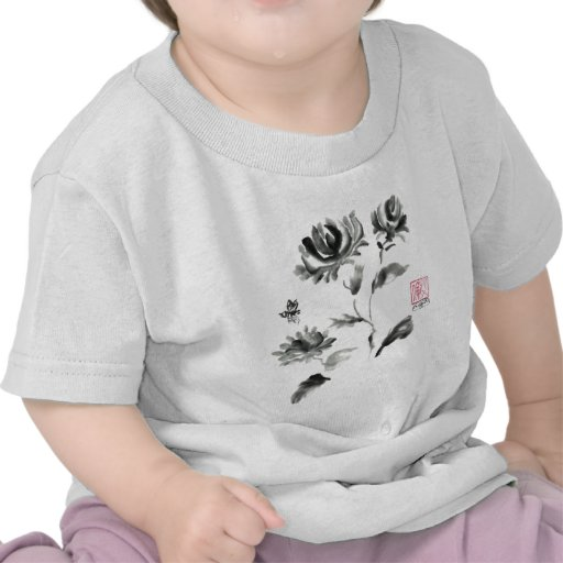 Buzzz, Sumi-e Rose with Bee T-shirts