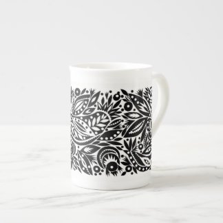 BW Bird Art Cutouts Bone China Mug