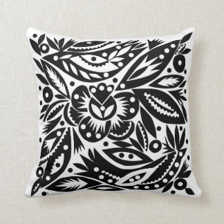 BW Bird Art Cutouts Reversible Pillow