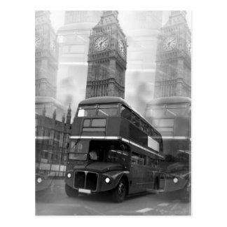BW Black & White London Bus & Big Ben Postcard