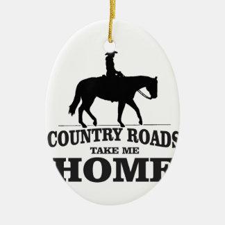 bw country roads take me home ceramic ornament