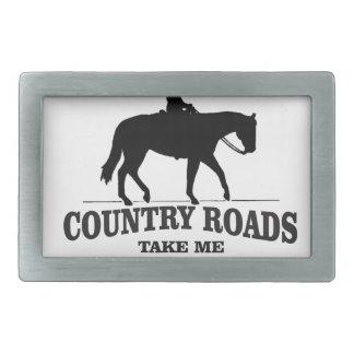 bw country roads take me home rectangular belt buckle