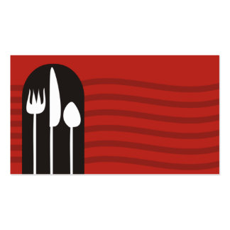 BW dinner utensils fork chef catering business car Pack Of Standard Business Cards