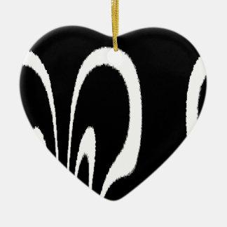 BW Floral Ceramic Heart Decoration