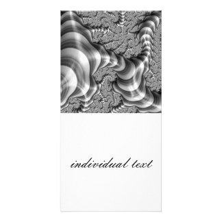 BW Fractal Stripes Personalized Photo Card
