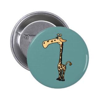 BW- Funny Sad Giraffe 6 Cm Round Badge