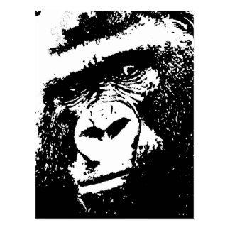 BW Gorilla Face Postcard