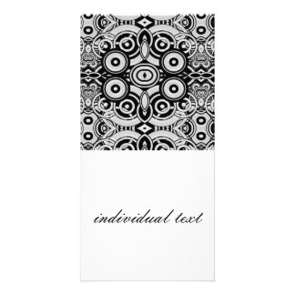 BW Retro Pattern Custom Photo Card