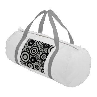 BW retro Pattern RINGS Gym Duffel Bag