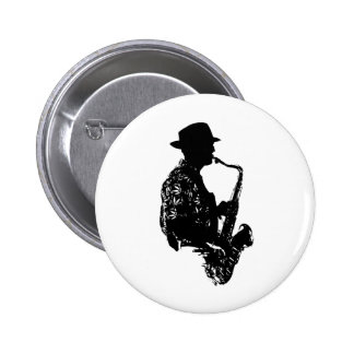 BW sax player side view outline 6 Cm Round Badge