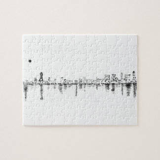 bw seattle painting jigsaw puzzle