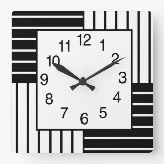 BW Squares Striped Square Wall Clock