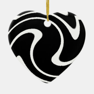 BW Striped Twirl.png Ceramic Heart Decoration