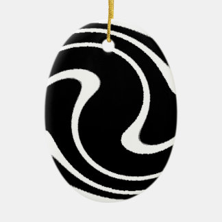 BW Striped Twirl.png Ceramic Oval Decoration