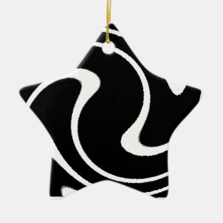 BW Striped Twirl.png Ceramic Star Decoration