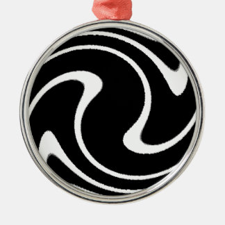 BW Striped Twirl.png Silver-Colored Round Decoration