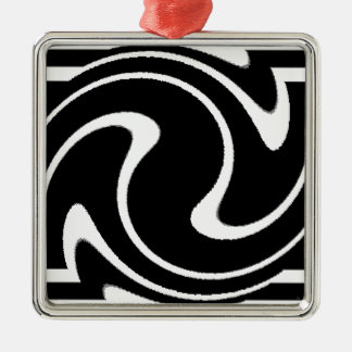 BW Striped Twirl.png Silver-Colored Square Decoration