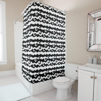 BW Swirly Wave - small Shower Curtain