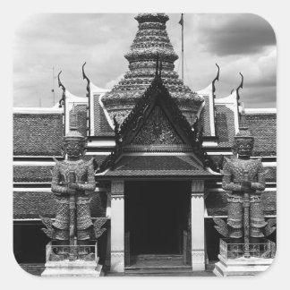 BW Thailand Bangkok  Wat Phra Kaeo Pregnant 1970 Square Sticker