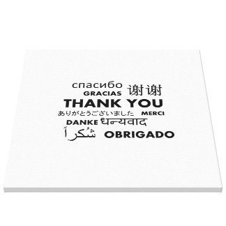 BW Thank you Stretched Canvas Print
