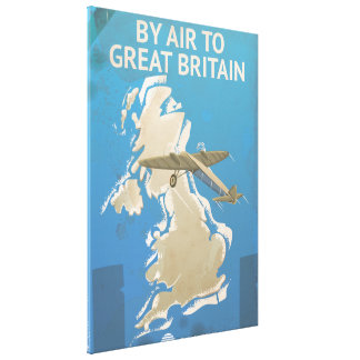 By Air To Great Britain Vintage Travel poster Canvas Print