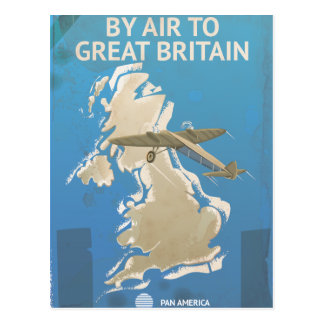 By Air To Great Britain Vintage Travel poster Postcard